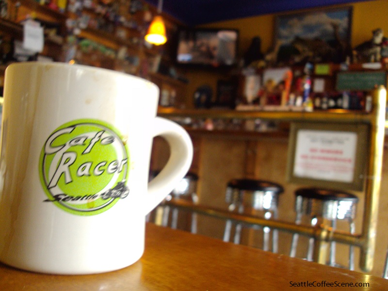 laughter, coffee served at café racer -seattle coffee scene